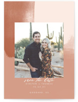 This is a pink petite save the date by Stephanie Given called Minimalist Abstract Sunset with standard printing on smooth signature in petite.