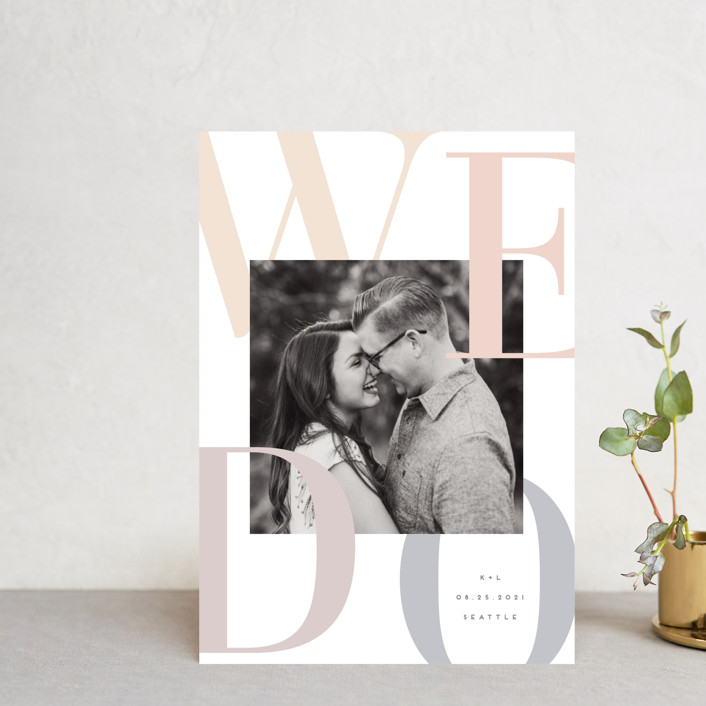"""We Do."" - Bold typographic, Modern Save The Date Petite Cards in Sorbet by Angela Garrick."