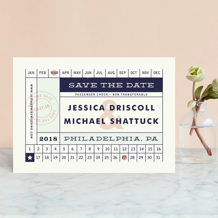 """""""Just The Ticket"""" - Destination, Vintage Save The Date Petite Cards in Navy by Paper and Parcel."""