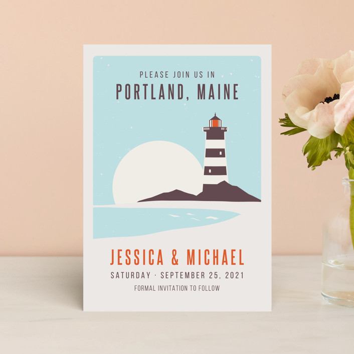 """""""Lighthouse Maine"""" - Save The Date Petite Cards in Sea by Kampai Designs."""