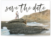 This is a black petite save the date by Eric Clegg called Scripted with standard printing on smooth signature in petite.
