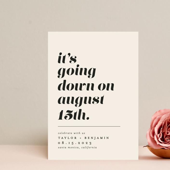 """Party Down"" - Save The Date Petite Cards in Ecru by Erica Krystek."
