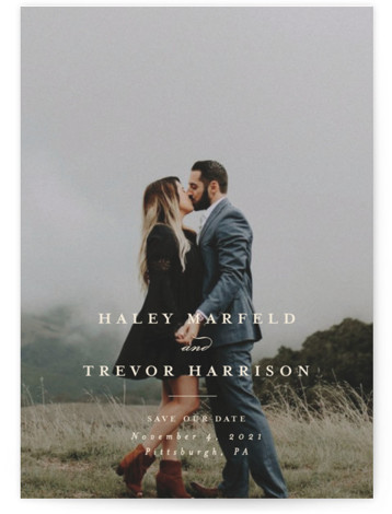 This is a classic and formal, white Save the Dates by Lea Delaveris called Simple side with Standard printing on Smooth Signature in Petite Flat Card format. Single full bleed photo with classic and simple typography that highlights the couple's ...
