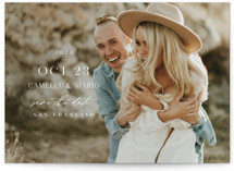 This is a white petite save the date by Lori Wemple called Cameo with standard printing on smooth signature in petite.