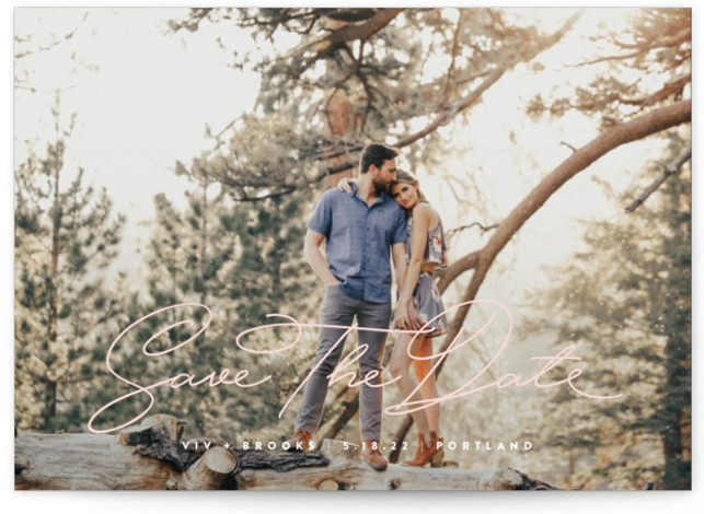 This is a landscape, portrait simple, pink Save the Dates by Lauren Chism called Jot with Standard printing on Signature in Petite Flat Card format. Simple and casual, this minimalist save the date will compliment the photo and let it ...