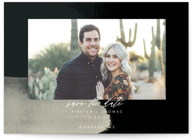 This is a modern, painterly, watercolor, black Save the Dates by Stephanie Given called Minimalist Abstract Sunset with Standard printing on Smooth Signature in Petite Flat Card format. This minimalist save the date features a gorgeous sunset abstract background.