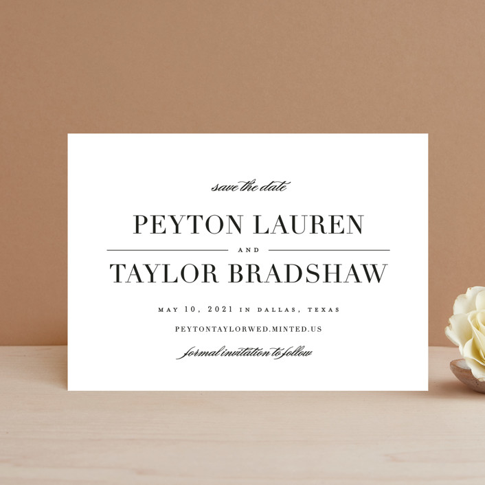 """""""Classic"""" - Save The Date Petite Cards in Tuxedo by Lauren Chism."""