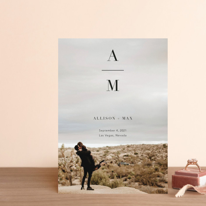 """""""Stacked Initials"""" - Bold typographic, Minimalist Save The Date Petite Cards in Night by Ashley Lopez."""