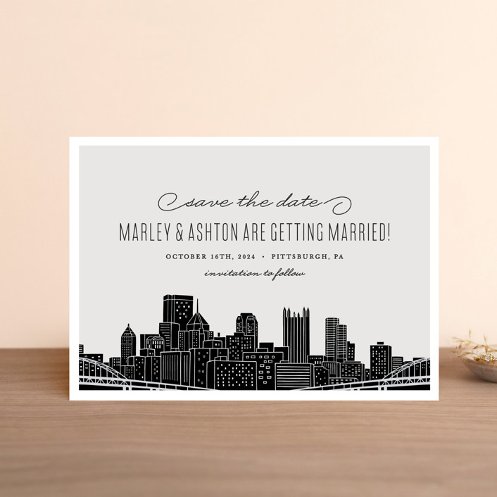 """Big City - Pittsburgh"" - Save The Date Petite Cards in Light Taupe by Hooray Creative."