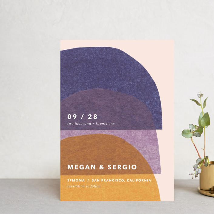 """cut-paper bells"" - Modern Save The Date Petite Cards in Sunrise by Carrie Moradi."