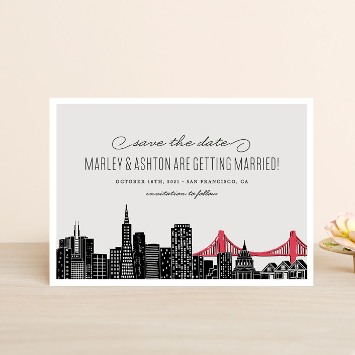 """Big City - San Francisco"" - Save The Date Petite Cards in Light Taupe by Hooray Creative."