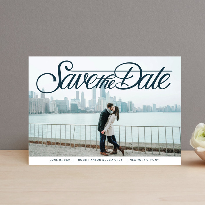 """""""Lettering Crossbar"""" - Save The Date Petite Cards in Midnight by Jill Means."""