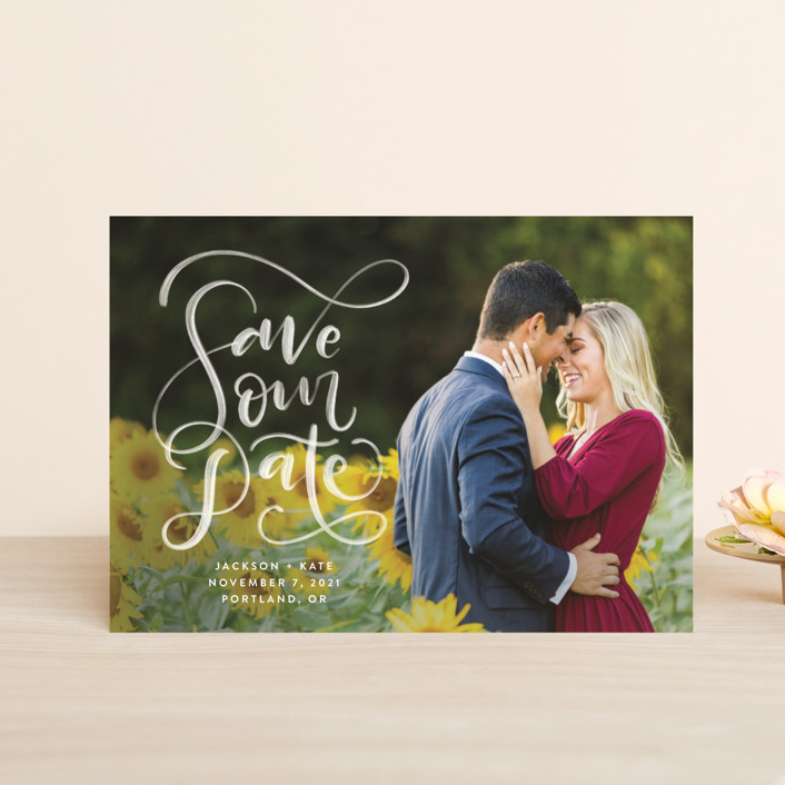 """""""Brushed"""" - Save The Date Petite Cards in Pearl by Amy Payne."""