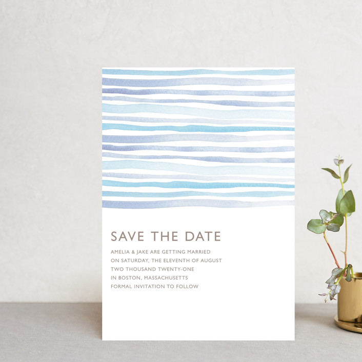 """""""Horizon"""" - Save The Date Petite Cards in Light Cornflower by Dean Street."""