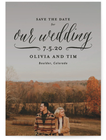 This is a landscape, portrait classic and formal, black Save the Dates by Lauren Chism called Postcard Perfect with Standard printing on Signature in Petite Flat Card format. Inspired by a postcard, this save the date is perfect for those ...
