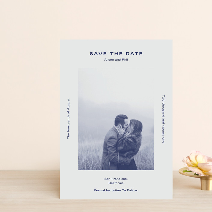 """Flyer"" - Save The Date Petite Cards in Navy by Jack Knoebber."