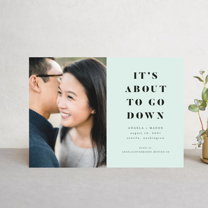 """""""About To Go Down"""" - Save The Date Petite Cards in Mint by Stephanie Given."""