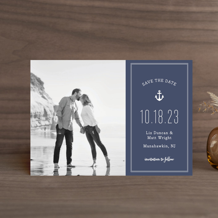 """""""Down by the Sea"""" - Preppy Save The Date Petite Cards in Marine by Sandra Picco Design."""