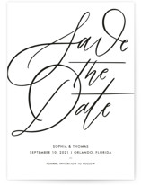 This is a white petite save the date by Kristen Smith called Delicate Dates with standard printing on signature in petite.