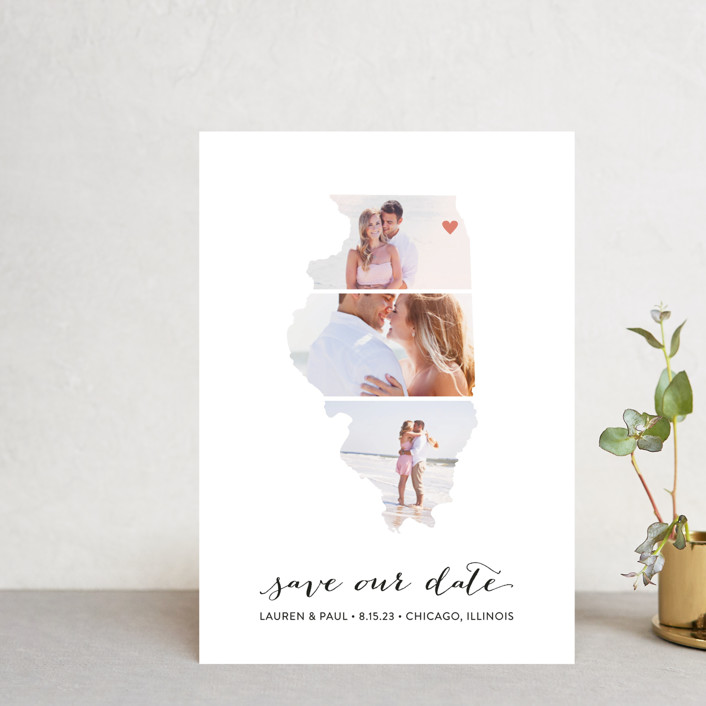 """Illinois Love Location"" - Save The Date Petite Cards in Wedding Dress by Heather Buchma."