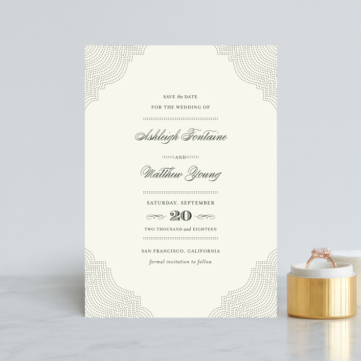 """""""Splendorous"""" - Vintage Save The Date Petite Cards in Cream by Design Lotus."""