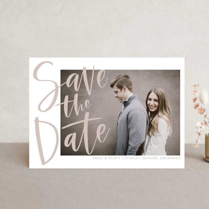 """Simple Love"" - Save The Date Petite Cards in Tan by Alicia Schultz."