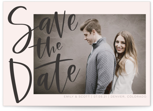 This is a bold and typographic, pink Save the Dates by Vine and Thistle called Simple Love with Standard printing on Signature in Petite Flat Card format. This Save the Date features a hand lettered announcement and a single photo. ...