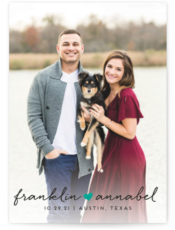 This is a landscape, portrait simple and minimalist, green Save the Dates by Jessica Corliss called Sidewalk Love with Standard printing on Signature in Petite fold over (blank inside) format. A simple photo save the date with a small doodle ...