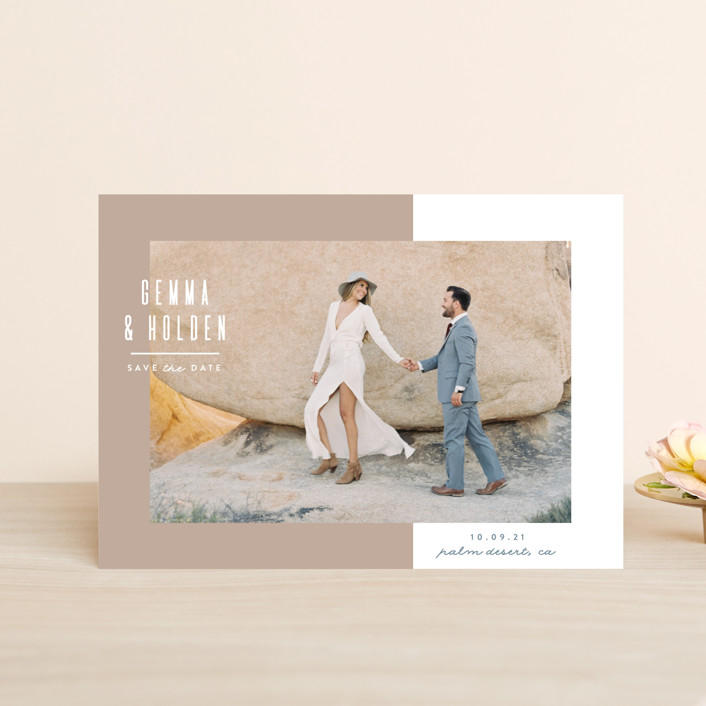 """""""Block Party"""" - Minimalist, Simple Save The Date Petite Cards in Sand by Owl and Toad."""