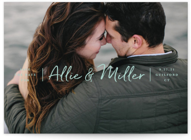 This is a classic and formal, classical, minimalist, simple, green Save the Dates by Jennifer Wick called Swiftly with Standard printing on Signature in Petite Flat Card format. Simple, handscript lettering of the couple's name over a full bleed photo ...