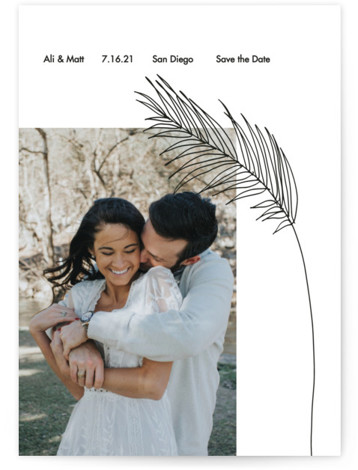 This is a beach, botanical, floral, black Save the Dates by Elsa Duncan called Palm with Standard printing on Smooth Signature in Petite Flat Card format. This minimal save the date features a single palm frond illustration and one photo ...