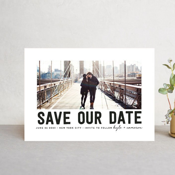 """""""Bold Message"""" - Modern Save The Date Petite Cards in Basic Black by Susan Brown."""