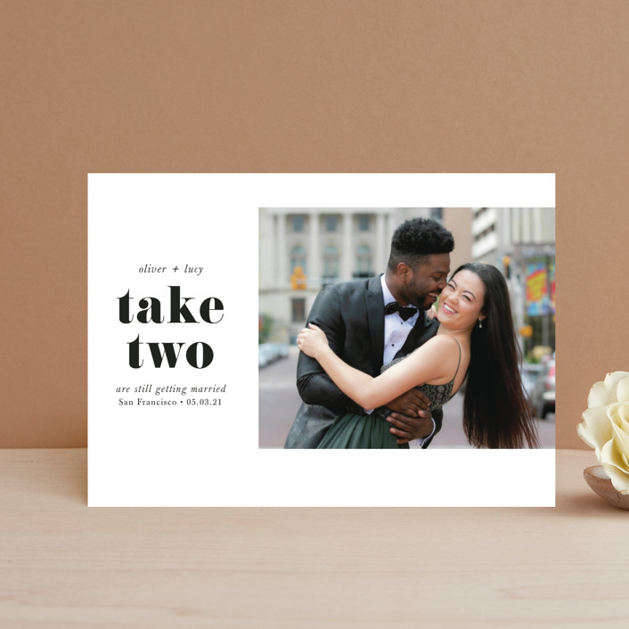 """""""Modern Simplicity"""" - Save The Date Petite Cards in Monochrome by Hudson Meet Rose."""