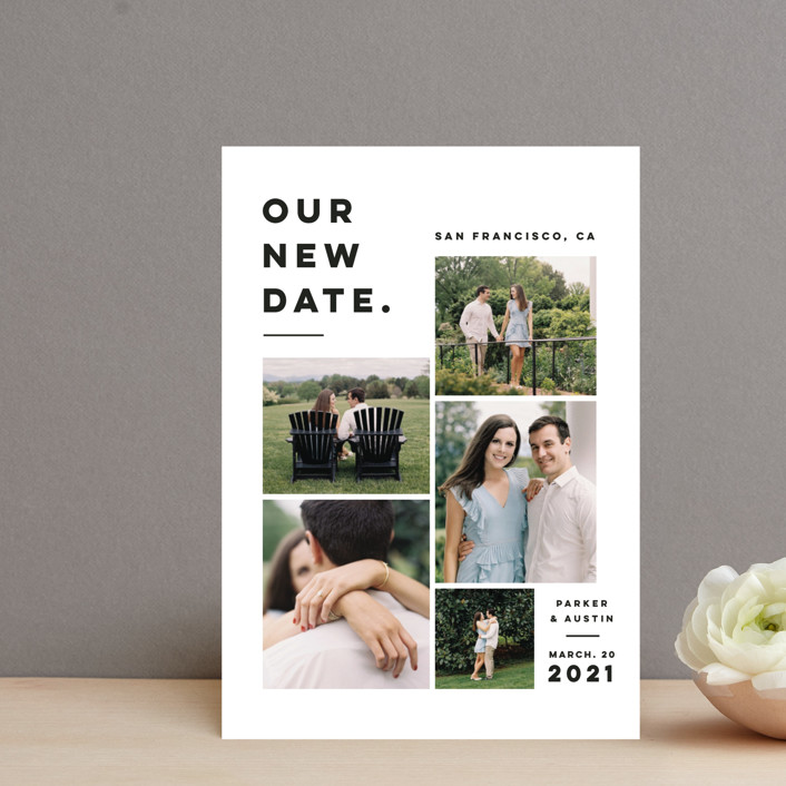 """""""Blocked Date"""" - Save The Date Petite Cards in Fog by Pink House Press."""