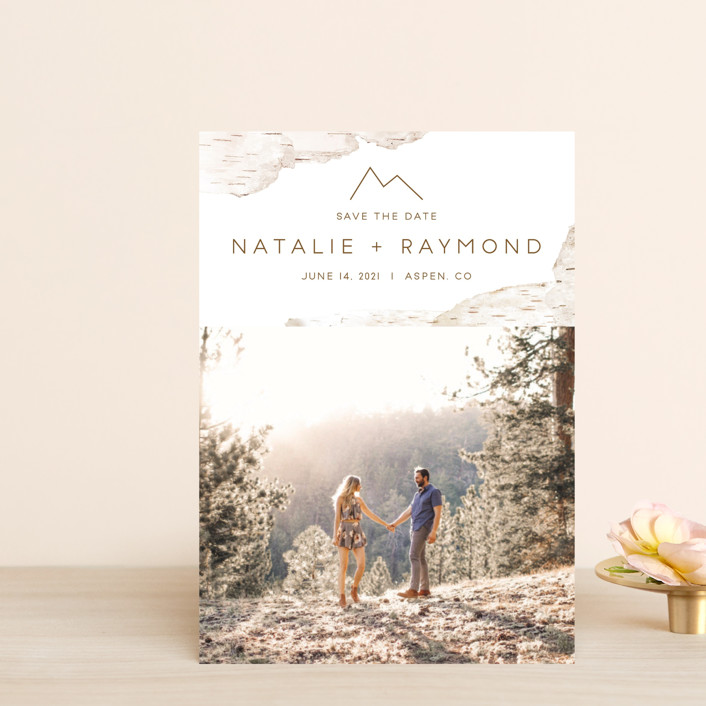 """""""Birchbark"""" - Destination, Simple Save The Date Petite Cards in Natural by Kelsey Mucci."""