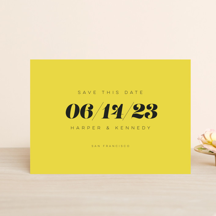 """""""Bold Simplicity"""" - Save The Date Petite Cards in Mimosa by Laura Bolter."""
