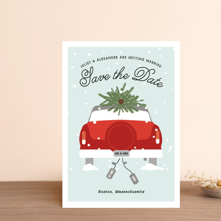 """""""Wed in Winter"""" - Save The Date Petite Cards in Mistletoe by Bonjour Berry."""
