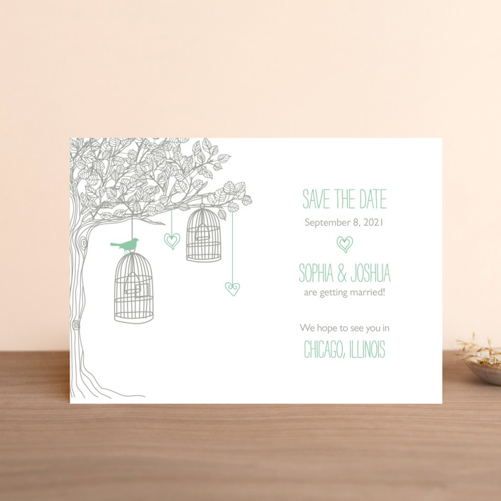 """Love Let Loose"" - Save The Date Petite Cards in Seaglass by Paisley Tree Press."