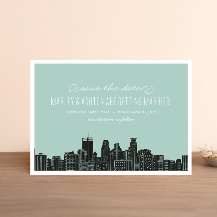 """""""Big City - Minneapolis"""" - Save The Date Petite Cards in Mint Green by Hooray Creative."""