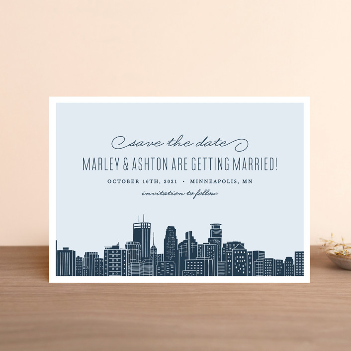 """""""Big City - Minneapolis"""" - Save The Date Petite Cards in Pale Blue by Hooray Creative."""