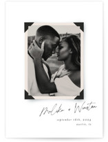This is a white petite save the date by Morgan Kendall called Album with standard printing on signature in petite.
