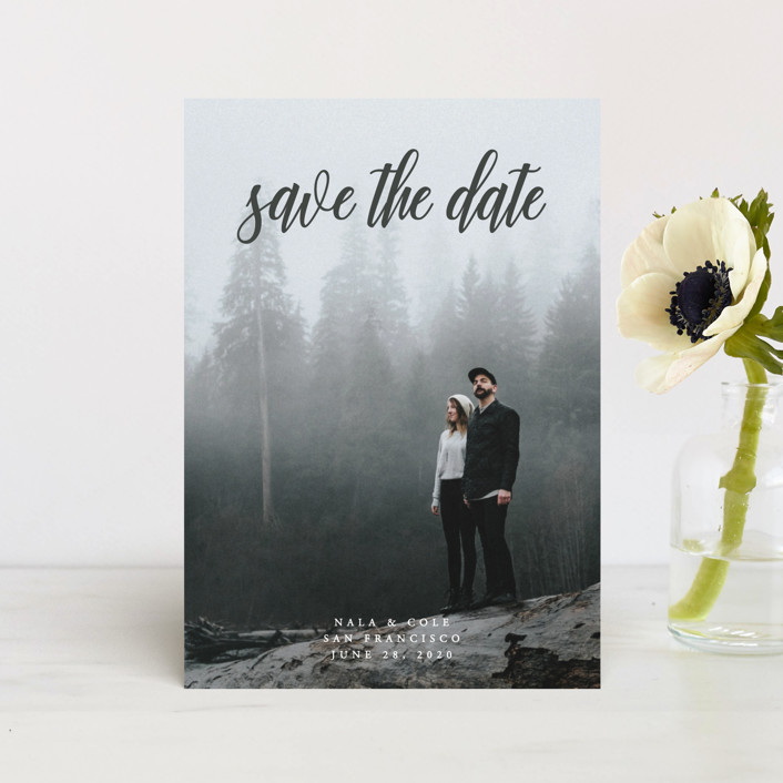 """""""mystic"""" - Classical, Formal Save The Date Petite Cards in Flagstone by Kate Ross."""