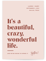 This is a pink petite save the date by Jessica Corliss called A Wonderful Life with standard printing on doublethick in petite.