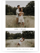 This is a white petite save the date by Rebecca Durflinger called fresh coupling with standard printing on smooth signature in petite.
