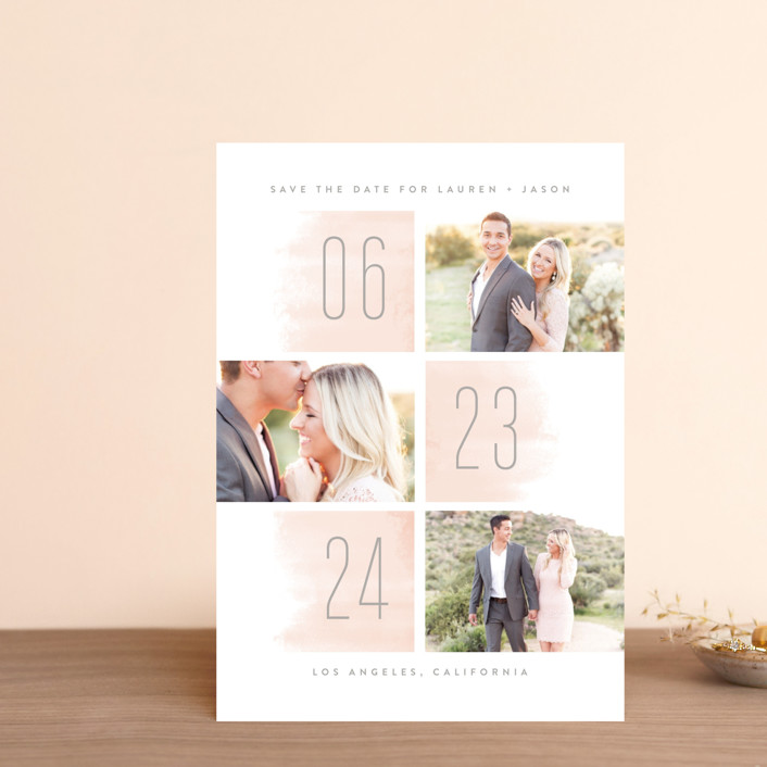 """Off the Grid"" - Modern Save The Date Petite Cards in Blush by Kristie Kern."