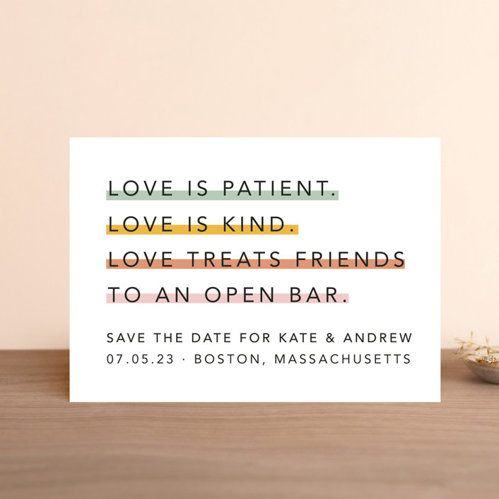 """Love is..."" - Save The Date Petite Cards in Sorbet by Hudson Meet Rose."