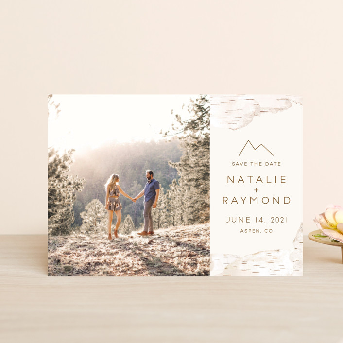 """""""Birchbark"""" - Rustic Save The Date Petite Cards in Natural by Kelsey Mucci."""