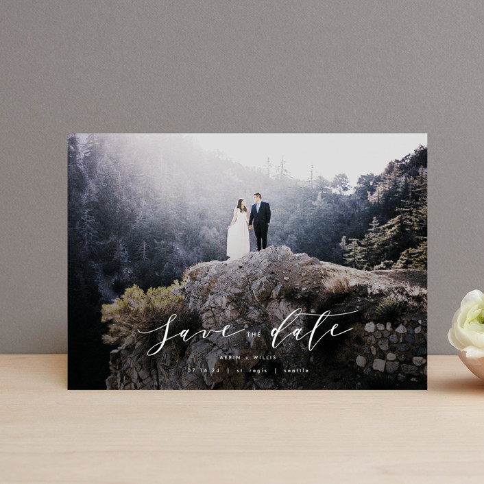 """Ever After"" - Save The Date Petite Cards in Cotton by AK Graphics."
