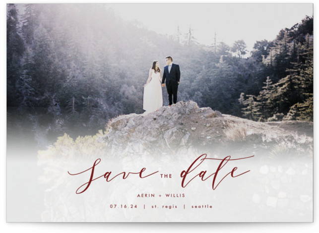 This is a landscape, portrait classic and formal, simple and minimalist, red Save the Dates by AK Graphics called Ever After with Standard printing on Signature in Petite Flat Card format. A simple and beautiful full bleed photo Save the ...