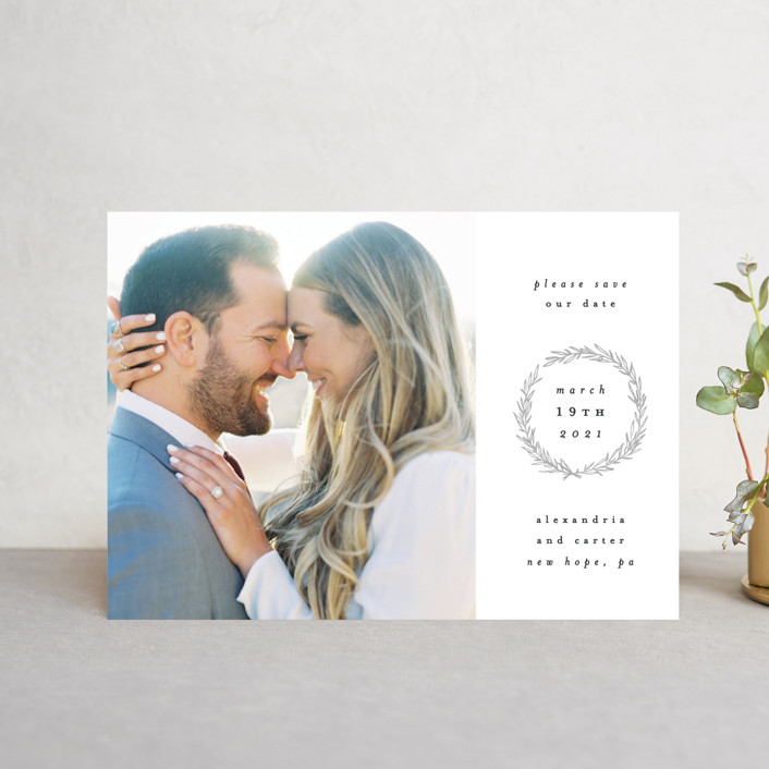 """""""Elegant Emblem"""" - Classical, Floral & Botanical Save The Date Petite Cards in Dove by Everett Paper Goods."""